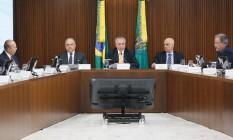 O presidente Michel Temer participa de reunião com órgãos de segurança Foto: Beto Barata/Divulgação