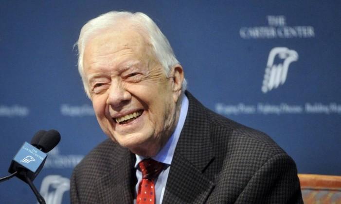 Ex-presidente Jimmy Carter conversa com a imprensa. Foto: JOHN AMIS / REUTERS