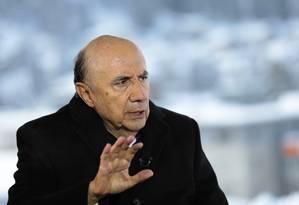 O ministro Henrique Meirelles, em Davos Foto: Simon Dawson / Bloomberg