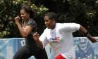 Michelle Obama em campanha para promover exercício entre os jovens, em 2010: presença forte como primeira-dama Foto: Gerald Herbert/AP
