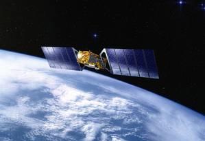 Ilustração retrata um satélite Galileo, parte de sistema de navegação por satélite europeu que busca competir com o americano GPS (Global Positioning System) Foto: J.Huart / Reprodução