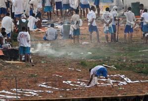 Detentos da Penitenciária Estadual de Alcaçuz, na região metropolitana de Natal Foto: ANDRESSA ANHOLETE / AFP