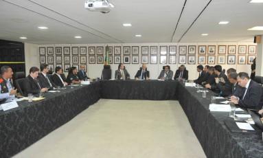 Reunião do ministro da Justiça, Alexandre de Moraes, com representantes da Federação Sindical Nacional dos Servidores Penitenciários (Fenaspen) Foto: Isaac Amorim/Ministério da Justiça