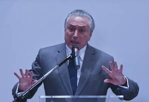 O presidente Michel Temer em cerimônia no Sebrae na manhã desta quarta-feira Foto: Ailton Freitas / Agência O Globo