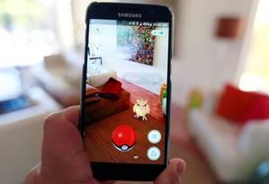 """Tela do jogo """"Pokémon Go"""" Foto: Sam Mircovich / Reuters/Arquivo"""