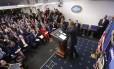 Jornalistaas acompanham última coletiva de Obama: Trump acena com mudanças em acesso à sala de imprensa Foto: Pablo Martinez Monsivais / AP