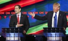 Marco Rubio e Donald Trump discutem em debate presidencial: senador assume linha de frente de críticos republicanos ao novo presidente Foto: Gary Coronado / AP