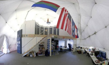 O interior da estrutura criada pela Universidade do Havaí Foto: AP