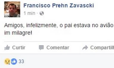 Filho de Teori Zavascki publicou no Facebook