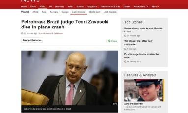 Morte de Teori é destaque na BBC Foto: Reprodução