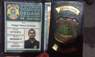 A carteira funcional do agente que foi assassinado Foto: Divulgação