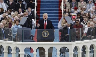 Donald Trump faz discurso de posse após se tornar o novo presidente dos EUA Foto: Patrick Semansky / AP