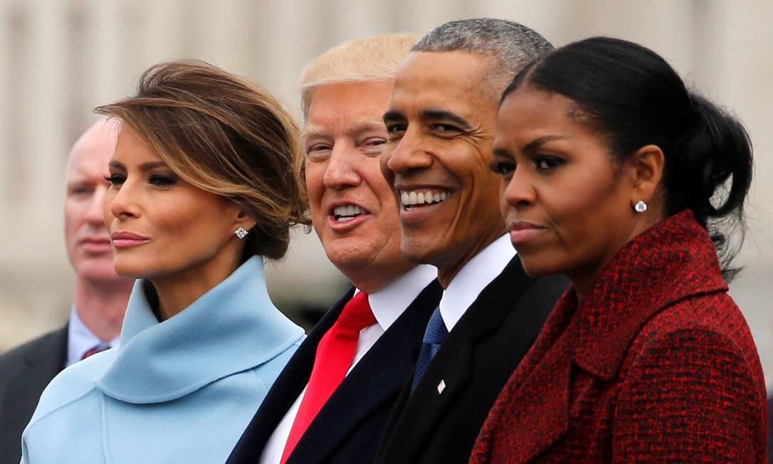 Melania, Trump, Obama e Michelle acompanham cerimônia de posse Foto: JONATHAN ERNST / REUTERS