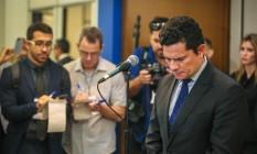 'Teori foi um verdadeiro herói', diz Sérgio Moro ao chegar ao velório Foto: JEFFERSON BERNARDES / AFP