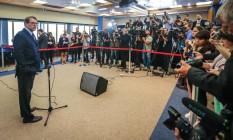Emocionado, o ministro Dias Toffoli lamentou a morte do ministro Teori Zavascki Foto: JEFFERSON BERNARDES / AFP
