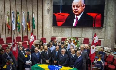 Presidente Michel Temer participa do velório do ministro do STF Teori Zavascki Foto: JEFFERSON BERNARDES / AFP