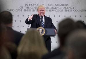 Presidente Donald Trump discursa na CIA, em Langley Foto: Andrew Harnik / AP