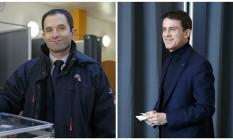 Montagem coloca Hamon e Valls lado a lado Foto: Reuters