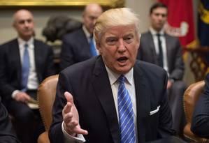 President Donald Trump em reunião na Casa Branca, em Washington Foto: NICHOLAS KAMM / AFP