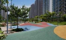 Movimento. Espaço de recreação já pronto no parque público da Vila dos Atletas Foto: Divulgação