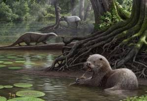 Animais viviam em região úmida no território atual da China, sendo capaz de nadar em águas rasas e pantanosas Foto: Reprodução / Reuters