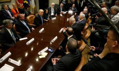 Presidente Donald Trump participa de reunião na presença da imprensa em Washington Foto: JONATHAN ERNST / REUTERS