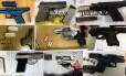 Algumas das 3.391 armas de fogo apreendidas em bagagem de mão nos aeroportos dos EUA em 2016