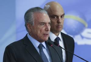 O presidente Michel Temer faz pronunciamento lamentando a morte do ministro Teori Zavascki Foto: Ailton Freitas / Agência O Globo