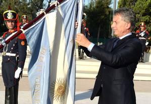 Macri participa de cerimônia homenageando a independência do Chile Foto: HO / AFP