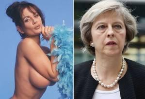 Teresa May e Theresa May: uma fez fama pelo entretenimento adulto. A outra, pela política Foto: Reprodução
