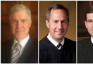 Neil Gorsuch, Thomas Hardiman e William Pryor: o primeiro à esquerda é o favorito à Suprema Corte Foto: REUTERS / REUTERS