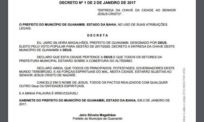 Decreto do prefeito de Guanambi entrega a chave da cidade a Jesus Cristo Foto: Reprodução