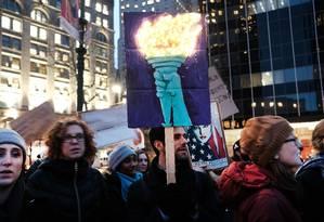 Manifestantes se concentram em Nova York contra políticas de Trump Foto: SPENCER PLATT / AFP