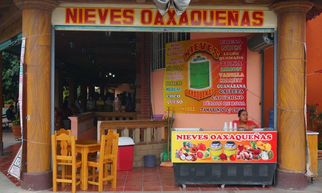 A vida gastronômica de Oaxaca gira em torno de seus mercados e lojas. Sorvetes e chocolates são destaque na região. Foto: Foto: Daniel Laper / Foto: Daniel Laper