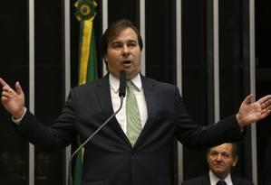 O deputado Rodrigo Maia (DEM-RJ), reeleito presidente da Câmara Foto: Ailton de Freitas / Agência O Globo