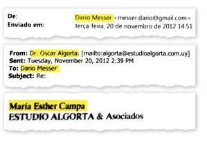 Troca de e-mails entre Dario Messer e Oscar Algorta Foto: Reprodução