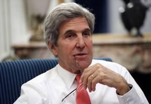 Então secretário de Estado, John Kerry faz pronunciamento à imprensa a cinco dias do fim do governo Obama Foto: Alex Brandon / AP