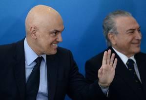 Alexandre de Moraes é indicado por Temer para a vaga deixada por Teori Zavascki no Supremo Tribunal Federal Foto: ANDRESSA ANHOLETE / AFP 03/02/2017