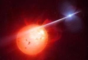 Ilustração mostra a estrela anã branca do sistema AR Scorpii emitindo um feixe de radiação e partículas na direção de sua companheira anã vermelha, o que faz com que o conjunto tenha variações periódicas de brilho Foto: Mark A. Garlick/Universidade de Warwick