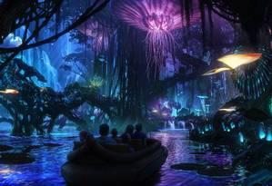 A floresta bioluminescente de Pandora - World of Avatar, que abrirá em 27 de maio no Animal Kingdom, no Walt Disney World, em Orlando Foto: Walt Disney Imagineering / Divulgação
