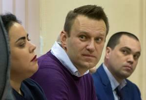 Em dezembro de 2016, Alexei Navalny comparece a audiência em tribunal de Kirov, na Rússia Foto: SERGEY BROVKO / AFP