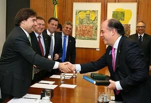 Rodrigo Maia recebe o presidente da Assembleia Nacional da Venezuela, deputado Julio Borges Foto: Flavio Soares / Agência Câmara