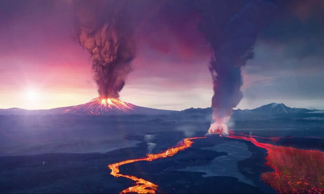 Ilustração mostra paisagem de um possível planeta extrassolar onde atividade vulcânica ajudaria a compensar erosão da atmosfera pela radiação estelar Foto: Nasa