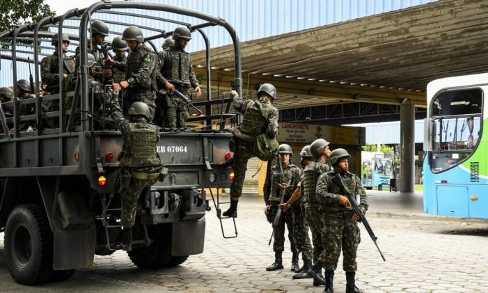 Guardas da Forca Nacional de Segurança nas ruas da Grande Vitoria Foto: Parceiro / Agência O Globo