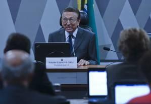 O senador Edison Lobão (PMDB-MA) foi eleito como novo presidente da Comissão de Constituição e Justiça (CCJ) Foto: Ailton Freitas / Agência O Globo