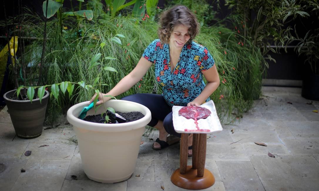 Novos frutos. A ginecologista Carolina Maia usou a sua para adubar a terra ao plantar uma árvore em homenagem ao seu segundo filho, Tito, nascido há três semanas Foto: Marcos Alves