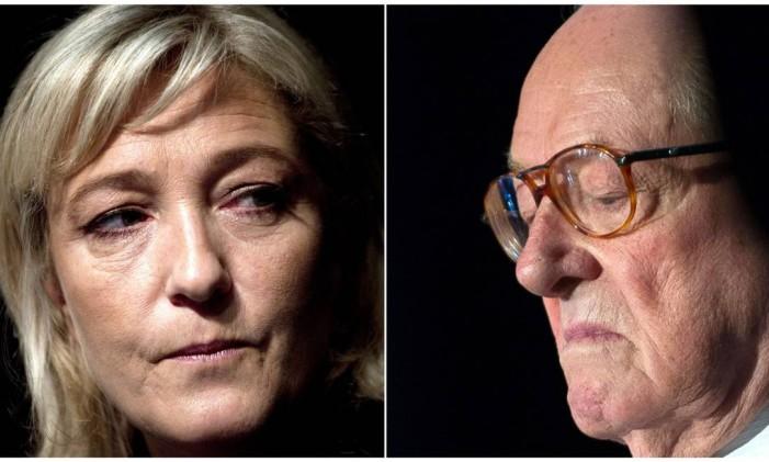 Montagem coloca lado a lado pai e filha: Marine Le Pen, atual líder da extrema-direita francesa,e Jean-Marie Le Pen, seu pai e fundador da Frente Nacional Foto: AFP