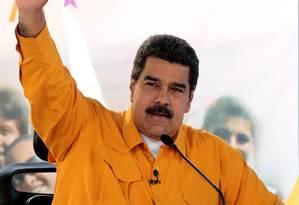 Presidente da Venezuela, Nicolas Maduro, fala em transmissão de televisão em Caracas Foto: AFP