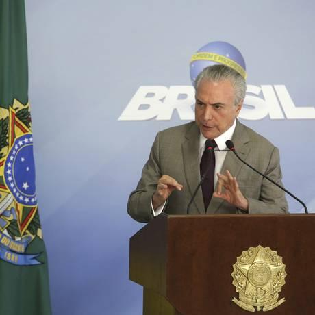 Presidente Michel Temer faz pronunciamento à imprensa Foto: Eraldo Peres / AP
