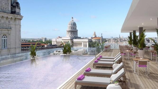 Projeto da piscina no terraço do Gran Hotel Manzana Kempinski La Habana, com vista para o Capitólio cubano Foto: Kempinski Hotels / Divulgação